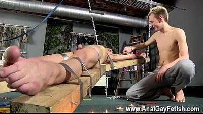 Asian gay boy bondage Dean gets tickled, super steamy wax