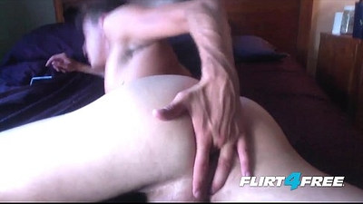Ripped Handsome Stud Slides a Dildo in His Ass