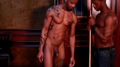 African gay hunk drilled on pool table