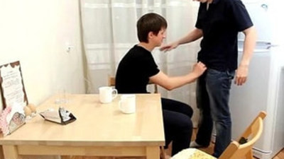 Horny twink blows a stiffy and drinks love juices