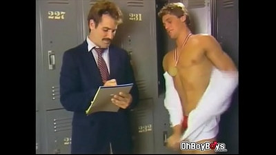 Anchorman suck and handjob swimmers dick in the locker room